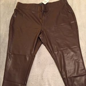 Brown leather leggings